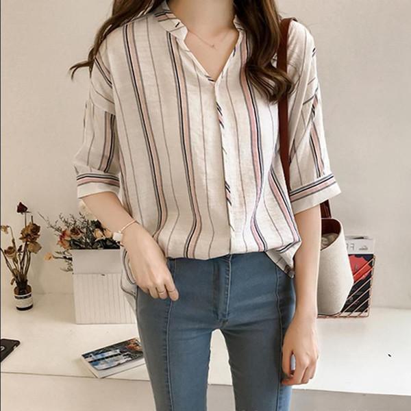 Dames chemise rayée occasionnels col v demi-manche coréenne chemisier en mousseline de soie chemise femme lâche été cardigan tops