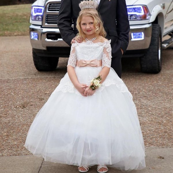 Elegant Flower Girl Lace Beading Half Sleeves First Communion Dress Kids Pageant Ball Gown 2-12 Years Old