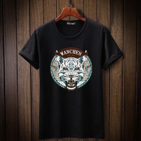 2019 New Fashion Tiger head tshirt Maglietta da uomo stampata Manica corta T-shirt casual Hipster Frattale Motivi Te Cool Top