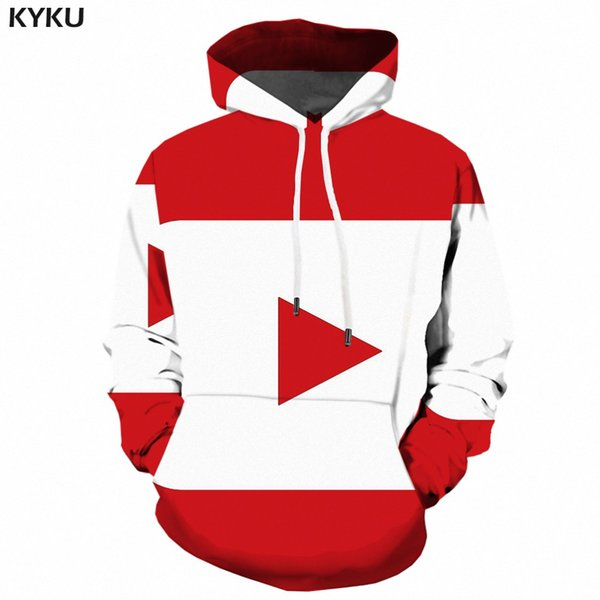 KYKU Geometric Hoodie Men Funny Sweatshirts Red 3d Hoodies Anime Print Sweatshirt Hip Hop Mens Clothing Winter Pullover Hooded