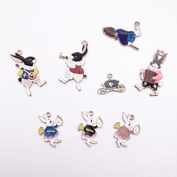 10pcs DIY Enamel Alice Rabbit horn guitar Accordion Music Band charms Golden Alloy Hanging pendants Korean Jewelry Accessories