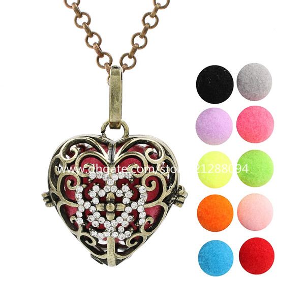 Antique Bronze Rhinestone Love Heart Perfume Diffuser Ball Locket Lava Beads Cage Angel Bola Mexican Chime Ball Charms With Chain