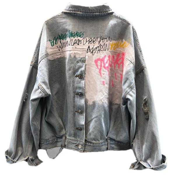 Kısa bağbozumu grafiti mektup yıkanmış kot ceket kadın moda yarasa kollu delik kot ceket gevşek