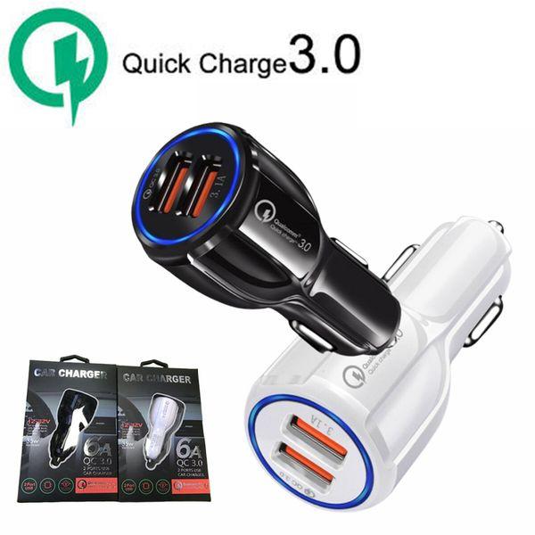 Для Samsung Galaxy S9 QC 3.0 Быстрое Автомобильное Зарядное Устройство 6А Быстрая Зарядка Dual USB Порт Для iPhone X С Розничной Упаковке