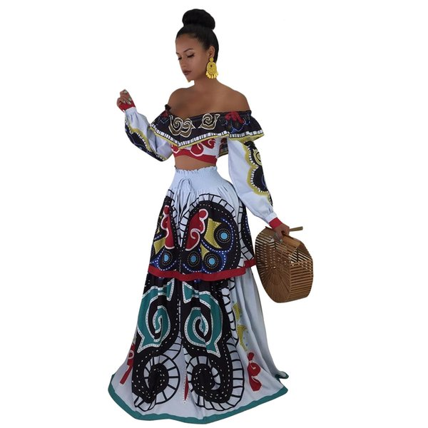 Women Designer Two Piece Dress Fashion Ruffles Crop Tops Floral Half Long Dress 2pcs Dress Suits