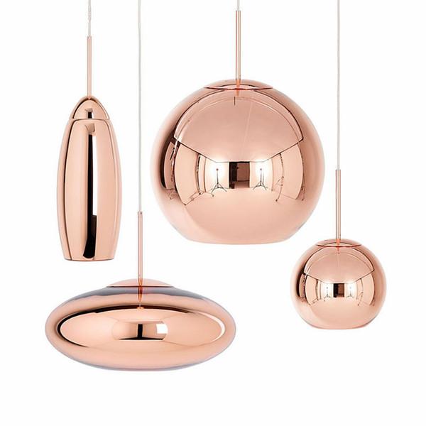 Tom Dixon Copper Glass Pendant Lamp Wide Mirror Ball Hanging Lights for Living Room Bedroom Industrial Lamp Home Decor Fixtures