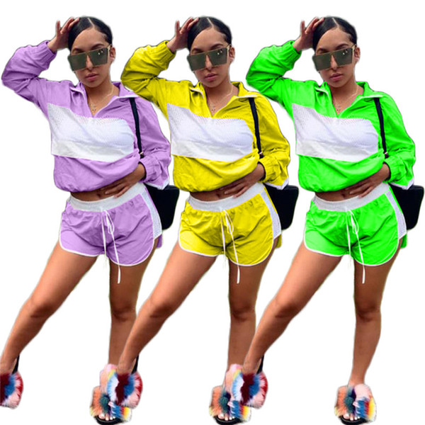 Women Patchwork Sheer Mesh Tracksuit Jacket Crop Top + Shorts Outfit Jumpsuits Summer Track Suit Wind Breaker Sports Jogger Suit C41503