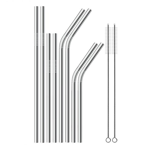 """best selling 304 Stainless Steel Silver Drinking Straws 8.5""""  9.5""""  10.5"""" Bent and Straight Reusable Drinking Straws Factory wholesale LX0202"""