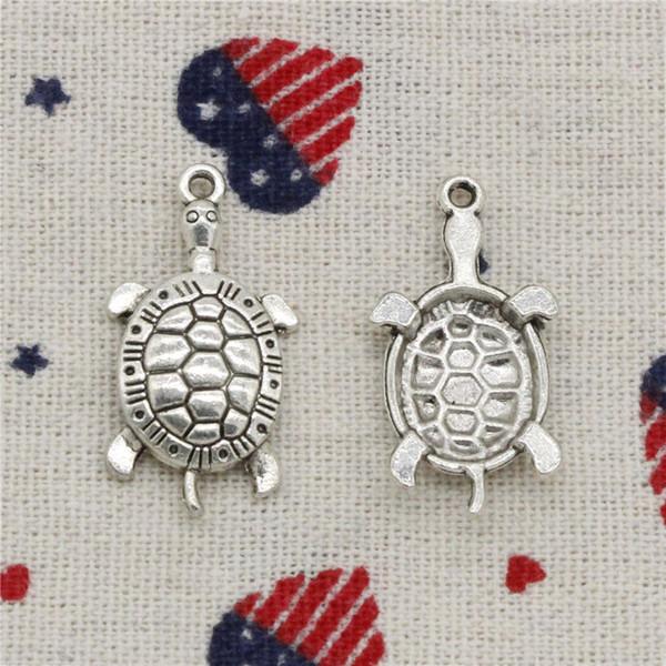 125 adet Charms kaplumbağa kaplumbağa deniz 30 * 15mm Kolye, Tibet Gümüş Kolye, DIY Kolye Için bilezik Takı Aksesuarları