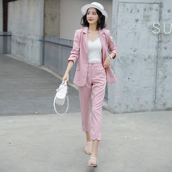 Damenanzüge Damen Frühjahr und Sommer neue schlanke lässige Sieben-Punkt-Jacke mit neun Hosen professionelle Anzüge