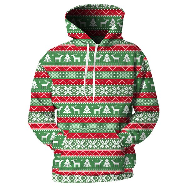 Cloudstyle 2018 New Design Printed Hoodies Male Female Fashion Stripe Tracksuits With Pocket Chirstmas Streetwear Loose Hooded