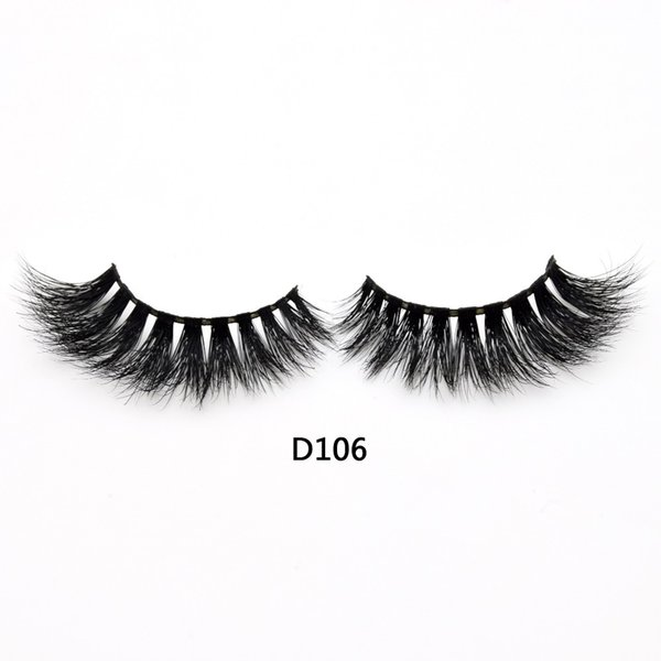 3D Real Mink Lashes Fur False Eyelashes Strip Thick Fake Faux Eye Lashes Makeup Beauty 100% Handmade Glitter Packing with Free Logo D106