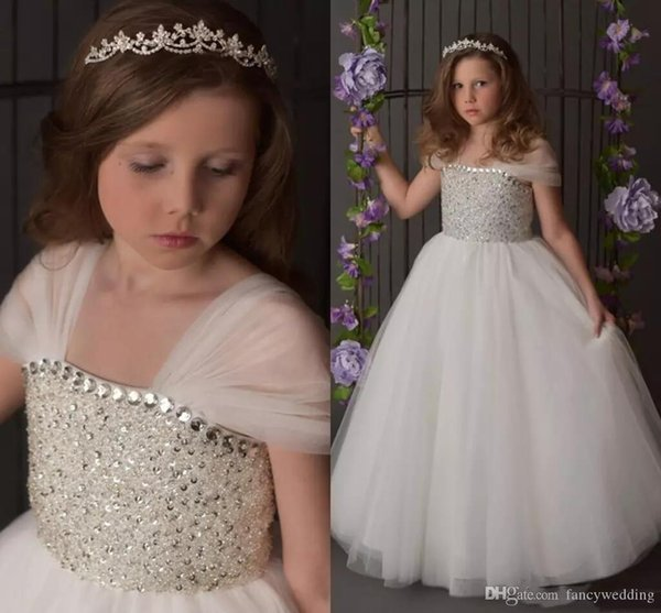 Hot Beaded White Flower Girls Princess Dress Lace Up High Quality Little Girl Pageant Cute Party Event Wedding Wear Dress Custom Made Gowns