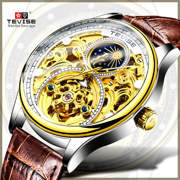 TEVISE Skeleton Tourbillon Men Mechanical Moon Phase Watches Automatic Watch Luxury Gold Leather Wristwatch relogio C19010401