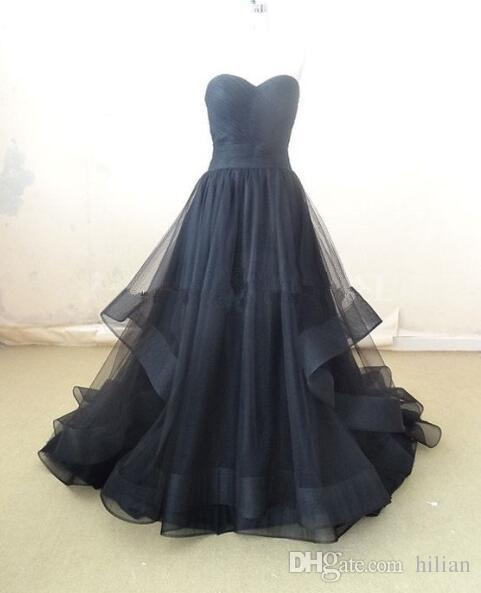 Black Strapless Organza Lace Up Back Prom Dress Floor Length Party Gown Evening Dress Mermaid Prom Dresses For party Formal Occasion