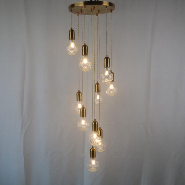 Vintage bronze metal muti-head glass ball pendant light fixture bedroom lights suspended globe hanging lamps for living dinning room decor