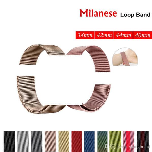 Pulsera milanesa Loop pulsera banda de acero inoxidable 42 mm 38 mm 40 mm 44 mm Pulsera para reloj serie 4
