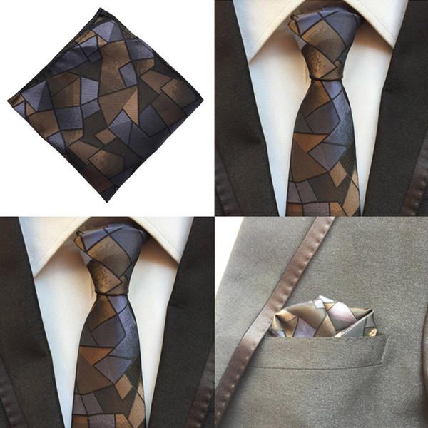 Hommes Bleu Brun Checks Cravate Liens Pocket Place Mouchoir Lot NOUVEAU HZTIE0147