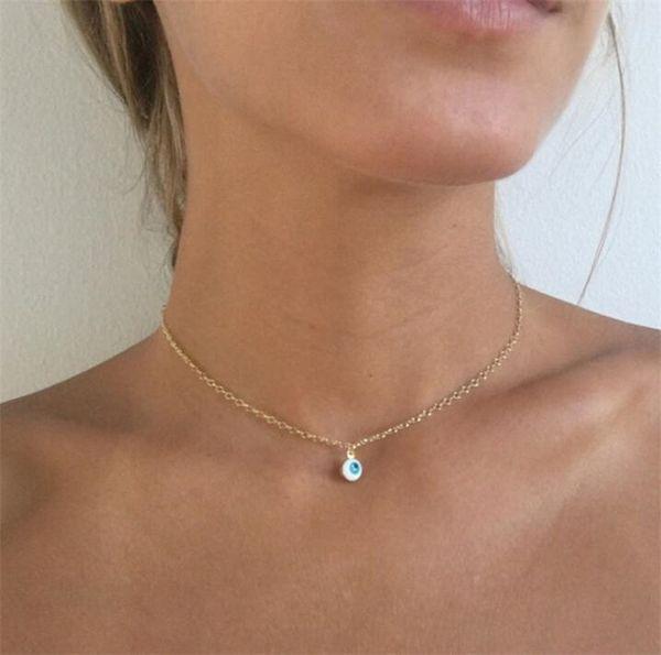 Мини Сглаза Ожерелье Водослива Кулон Ожерелья Золото Посеребренные Цепи Женщины