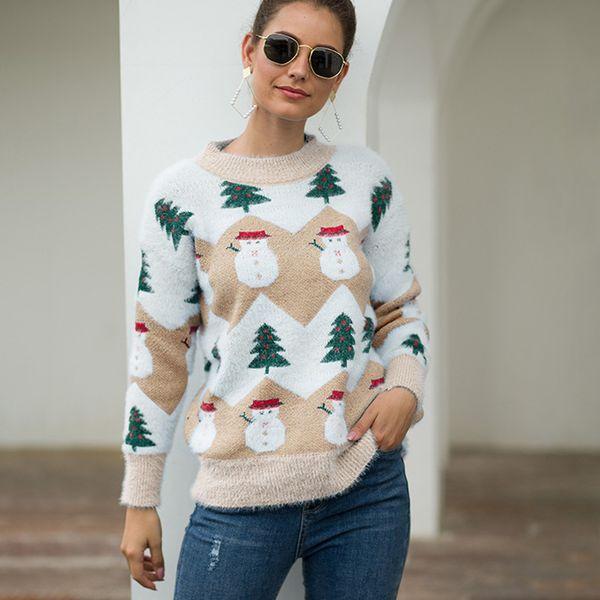 JAYCOSIN Snowman stampa maglione di Natale o-collo casuale delle donne pullover allentati maglieria maglioni Pullover femminile maglioni