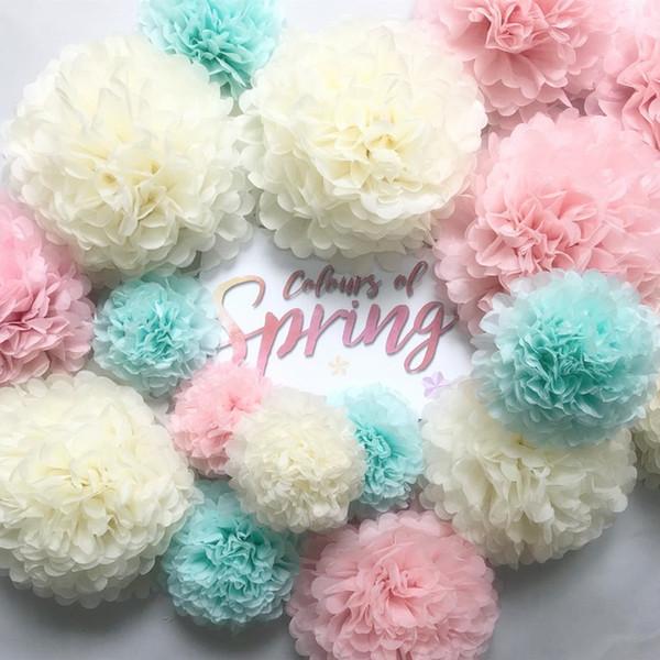 20 cm papel de seda Pom Poms bola de flores para la decoración de la boda fiesta de cumpleaños de la fiesta de bienvenida al bebé DIY Artesanía Pom Poms bola de flores decoración