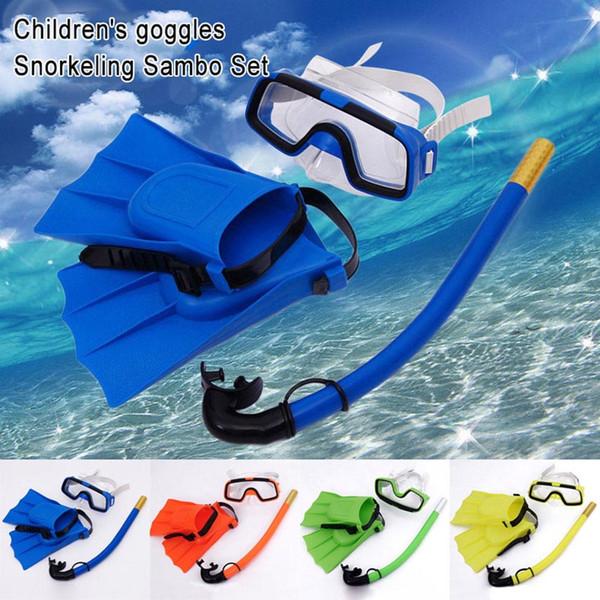 Children Diving Mask Set Anti-Fog Swimming Goggle Masks Snorkel Fins Kit for Kids Boys Girls DX88