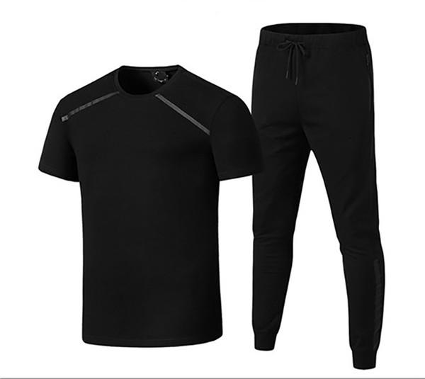 Brand Men's Tracksuits Fashion Active 2019 New Pure Color Breathable Soft Pullover T-shirt & Long Pants Cotton Blend Size L-5XL