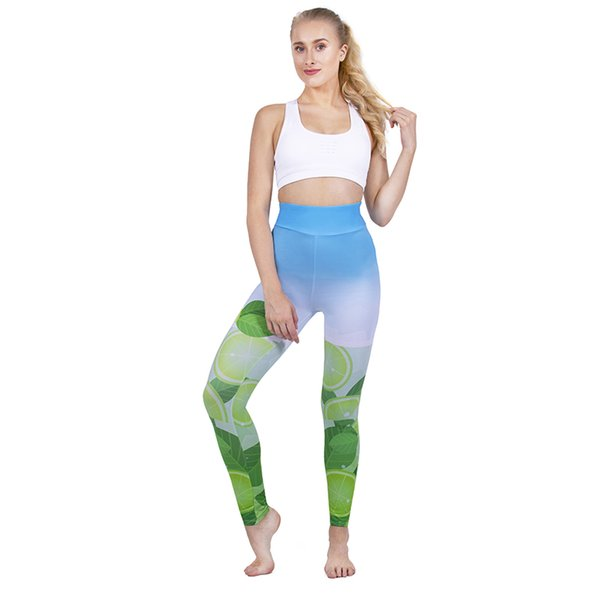 Women High Waist Leggings Mojito 3D Digital Full Printed Spring Summer Autumn Yoga Pants Lady Soft Jeggings Girl Sports Pencil Fit (Y52331)