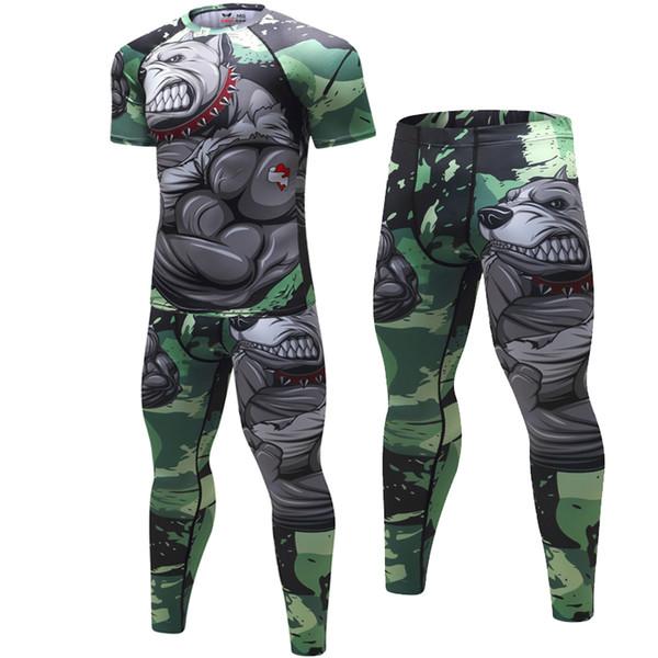 Brand New Compressão Dos Homens Ternos Esporte Secagem Rápida 3D Impresso MMA define Roupas Ginásio de Esportes de Fitness Fatos de Treino Rashguard 2 pçs / sets