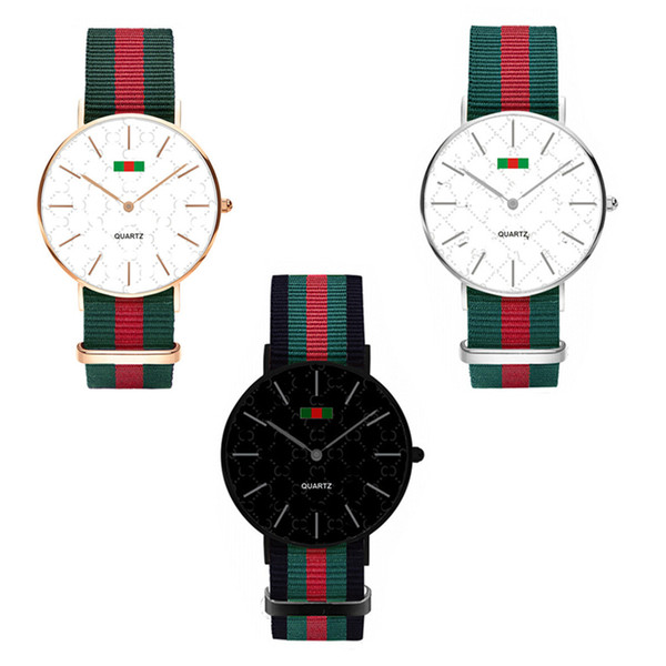 top popular Luxury Watch Fashion Nylon Ultra-thin Watch Neutral Watch Simple Red Green Stripes Straps Unisex Women Men Wristwatches 36MM 40MM C71702 2020