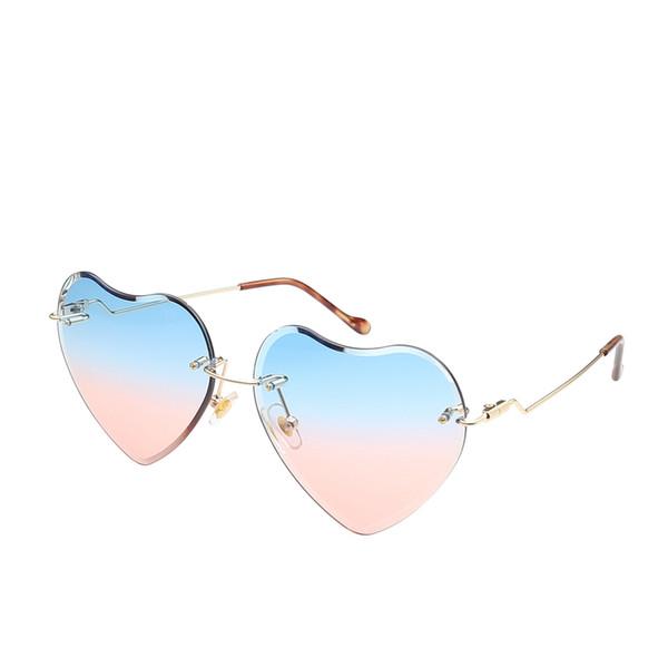 Women Luxury Rimless Sunglasses 2019 Trendy Ladies Transparent Heart Shape Sun Glasses Ocean Lens Gradient UV400 Glasses Eyewear