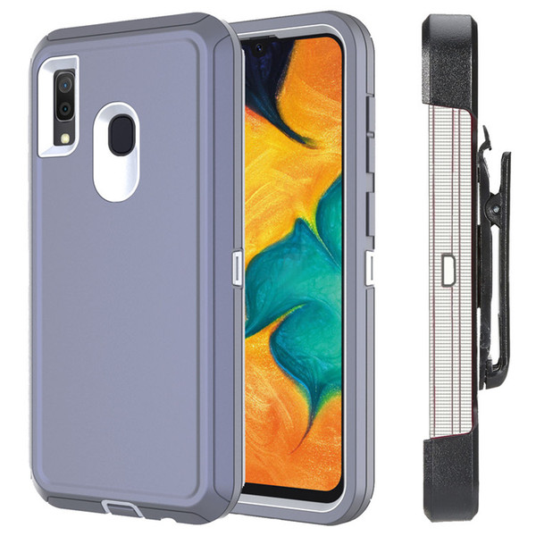 Caja del teléfono para Samsung Galaxy A10E / A20E con pantalla clip de la correa Protector de pata de cabra para trabajo pesado para hombres de las mujeres A20 / 30 A50 3 en 1 caso