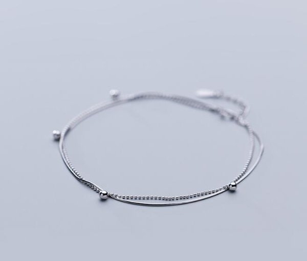 1pc Authentic REAL. 925 Sterling Silver Fine Jewelry WHITE/GOLDS Double Rows Lucky Beads Ball ANKLET Bracelet adjust GTLS875