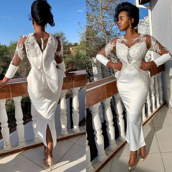 2020 пят Русалка Пром платья с длинными рукавами Jewel Шея Кружева Stain Большой лук арабский Асо Ebi African вечернее платье