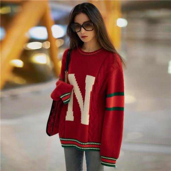 2019 Principios de la primavera Nuevas letras de jockeys Blusa Fácil Suéter de punto Jerseys O-cuello Lana Moda Letras Suéteres para mujeres