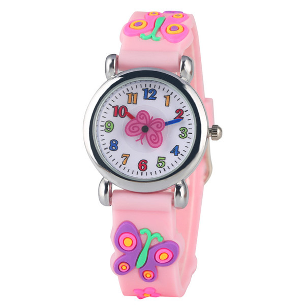 Lovely Cartoon Quartz Watch for Girls Pink Butterfly Pattern Silicone Band Children Watch Small Arabic Numerals Dial Watches