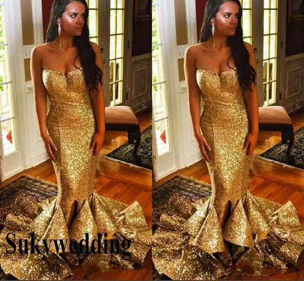 Sparkling Gold Sequined Prom Dresses 2019 Sequins Mermaid Pageant Formal Evening Party Dress Sweetheart Ruched Sweep Train Prom Gowns