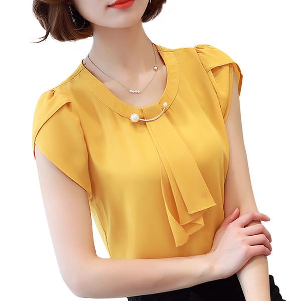 Blusa de gasa de verano sólida Camisa de mujer Tops Camisa de manga corta Blusas de oficina para mujer Blusas de moda Chemise Femme