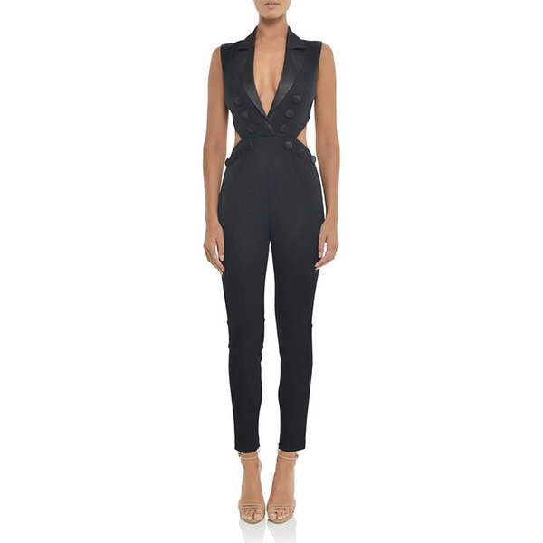 Adyce Celebrity Runway Party Jumpsuits For Women 2018 Sexy Black Deep V Neck Hollow Out Rompers Jumpsuit Sexy Bodycon Bodysuits