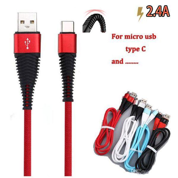 Alta resistência USB Cable 1m 3 pés 2A carregamento sincronização carga de dados cabo USB tipo C cabos para telefone S10 NOTA 10 mais