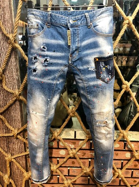 2018 European and American boutique fashion frosted holes embellished printed men's jeans size 44-54, free shipping - welcome to buy -a5
