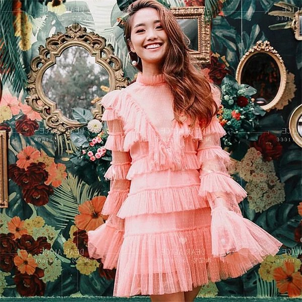 High Quality 2019 Fashion Spring and Summer Lace Women Mesh Flare Sleeve Pink Fairy Dresses