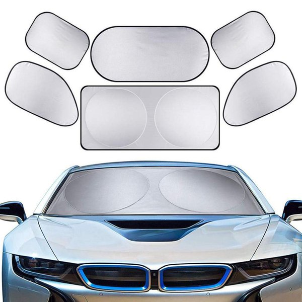 Silver Coating 6 pcs/set Full Car Auto Windshield Sun Shade Block UV Protection Cover for a great variety of vehicles