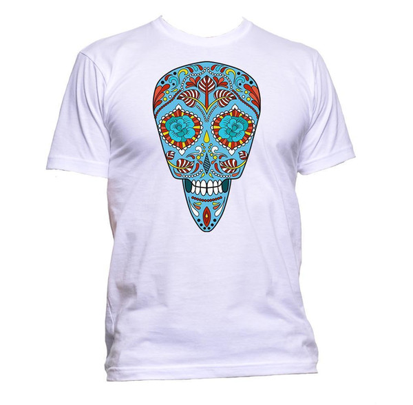 Sugar Skull Blue Coloured Design T-Shirt Mens Womens Unisex Fashion Slogan Gift Size Discout Hot New Tshirt Top Free Shipping T-shirt