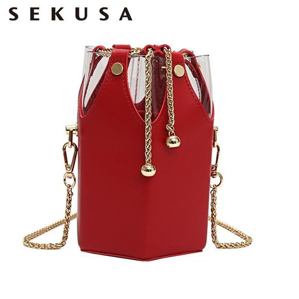 SEKUSA New Vogue PU Fashion Women Bags Tassel Metal Bucket Shaped Small Day Clutches Lady Evening Bag For Party Purse