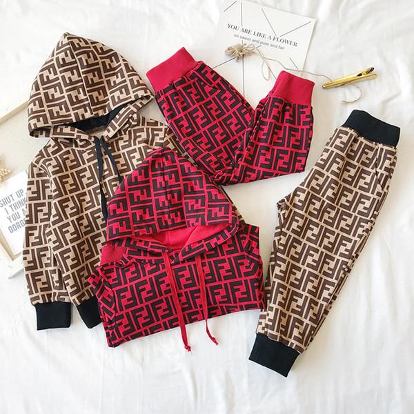 2019 luva Criança Hoodie longo calças de treino AutumnTwo Pedaço Define FF crianças de algodão agasalho BEBÉ meninas Designer roupa Outfit C72704
