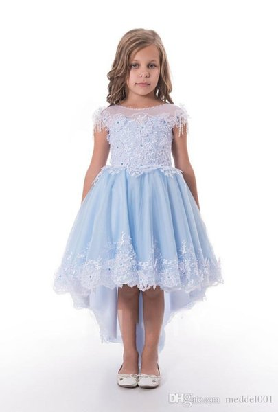 Lovely Blue Applique Beads Knee Girl's Pageant Dresses Flower Girl Dresses Holidays/Birthday Skirt Princess Skirt Custom Size 2-14 F110