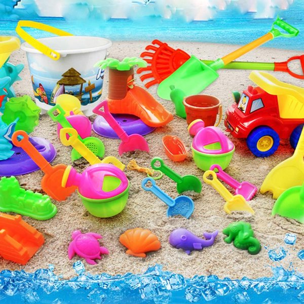 Children's Beach Toy Set Environmental Plastic Model Hourglass Sand Dredging Shovel Bucket Tool Showing Puzzle Toys For Kids