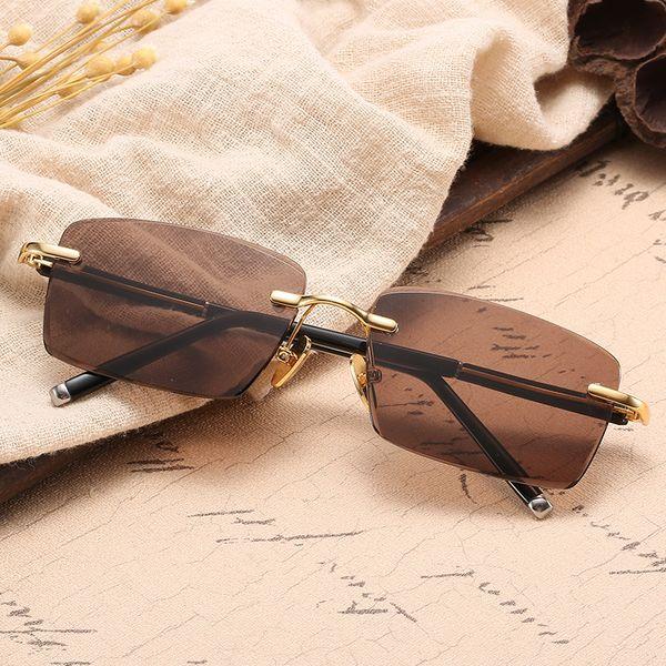 Rimless Crystal Stone Lens Sunglasses Men Women 2019 Fashion Luxury Square Sun Glasses Man Woman UV400 Shades Male Oculos De Sol