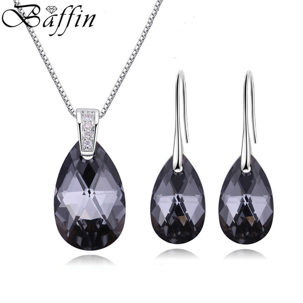 BAFFIN Genuine Crystals From SWAROVSKI Jewelry Sets Silver Color Waterdrop Pendant Necklace Dangle Earrings For Women Joyas 2018 J190521